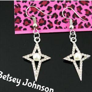Betsey Johnson Pearl Crystal Star Earrings